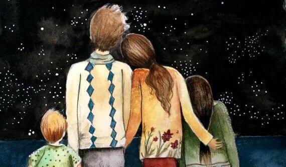 yıldızlara bakan aile resmi