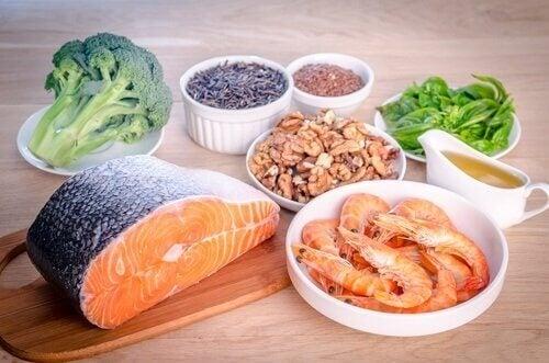 deniz ürünleri ve sebzeler
