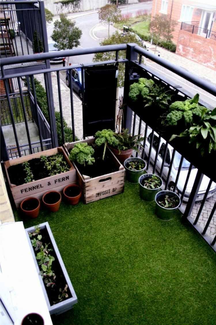 apartman balkonunda yeşillik