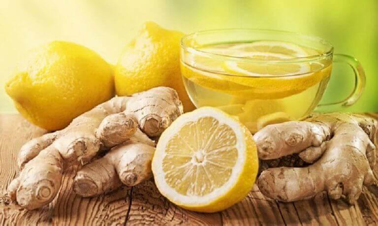 şişen karın için zencefil ve limon