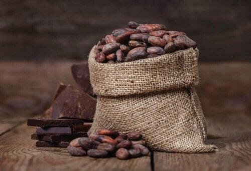 bir çuval kakao çekirdeği ve çikolata