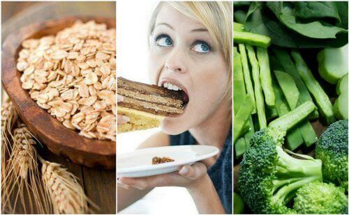 brokoli buğday ve pasta yiyen kadın