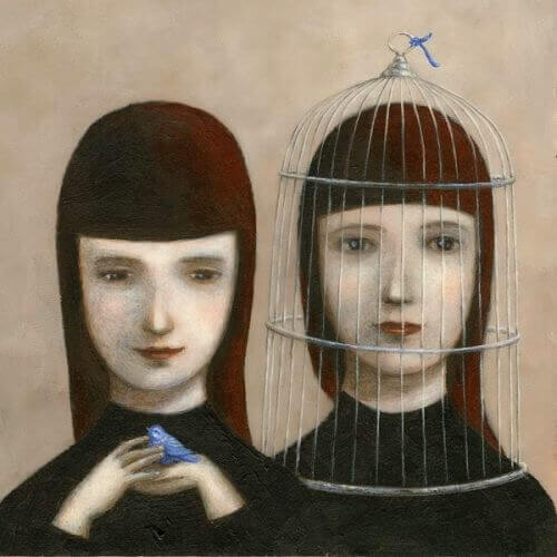kafasında kafes olan kadın