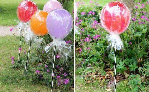 lolipop şeklinde renkli balonlar