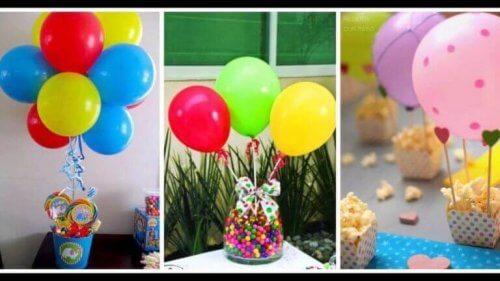 sekerlerin üzerinde renkli balonlar