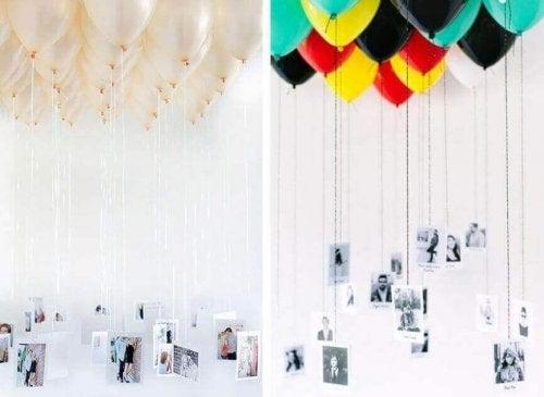 ucunda fotoğraf asılı balonlar