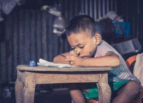 ders çalışan küçük erkek çocuğu