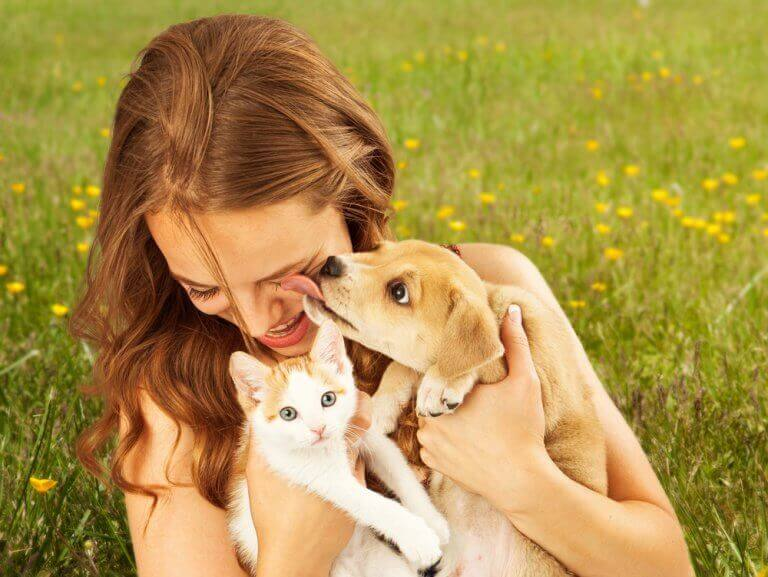 kadın kedi ve köpek mutlu