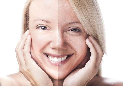 yarı yarıya genç yaşlı kadın yüzü