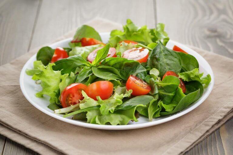 domatesli ve sebzeli yeşil salata