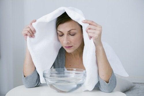 buhar burun havlu kadın akciğerleri arındırmak