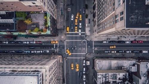 şehir cadde binalar yukarıdan görünüm