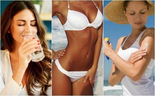 beyaz bikinili kadın su içmek güneş sonrası kremi