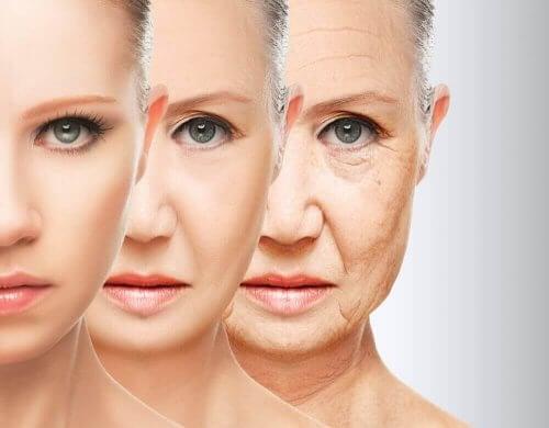 kadın yüz yaşlanma süreci