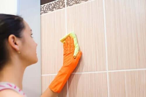 fayans duvarı silen kadın