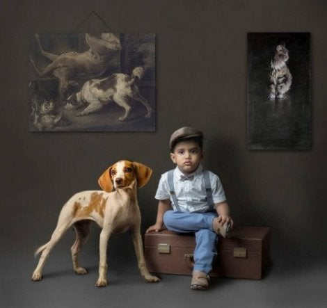 çocuk ve köpek