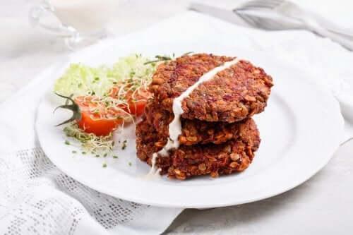 mantarlı kırmızı mercimek burger