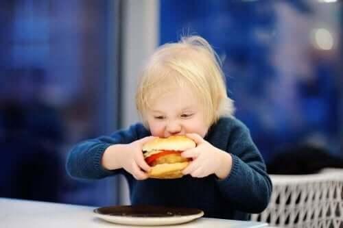 hamburger ısıran çocuk