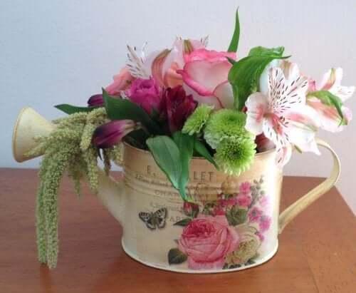 sulama kabında çiçekler