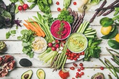 vegan çeşitli sebzeler ve mezeler