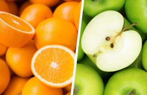 Portakallar ve elmalar.