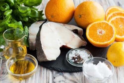 Morina balığı, portakal ve zeytinyağı.