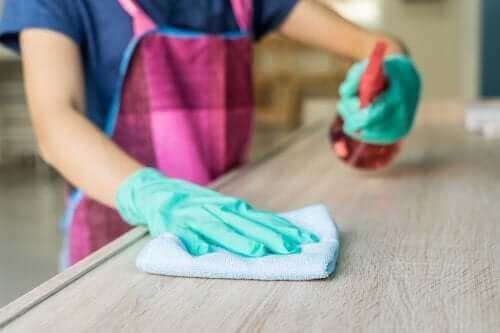Mobilyalarını temizleyen bir kişi.