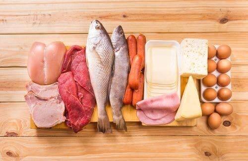 Protein bakımından zengin bir dizi gıda.