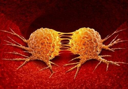 Kanser hücrelerini temsil eden bir illüstrasyon.