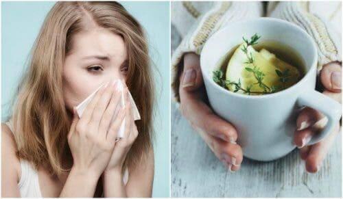 Burnunu silen bir kadın ve öksürük için yapılmış bir çay.