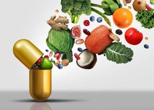 Vitaminler bakımından zengin olan bir dizi gıda.