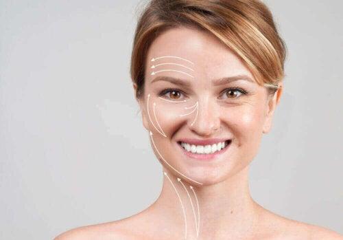 kolajen yaşlanma kadın yüz