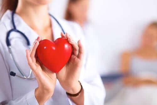 plastik kalp tutan doktor