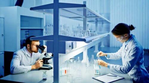Analiz yapan iki laborant