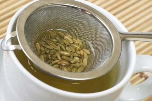 Süzgeçteki rezene tohumları ile demlenen bir kupa çay.