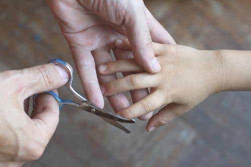 Çocuğunun tırnaklarını kesen bir ebeveyn.