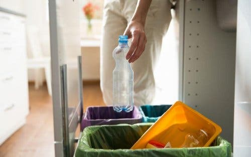 Evindeki geri dönüştürülebilecek çöpleri ayıran bir kişi.