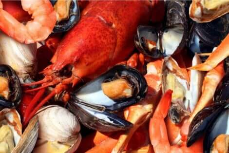 Çeşitli kabuklu deniz ürünleri