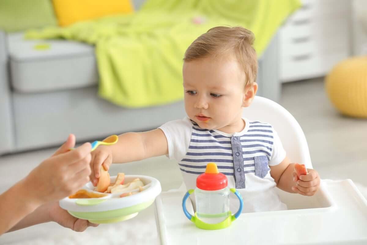 kaşıkla yenen bebek yemeği