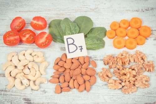 B7 vitamini içeren bazı gıdalar.
