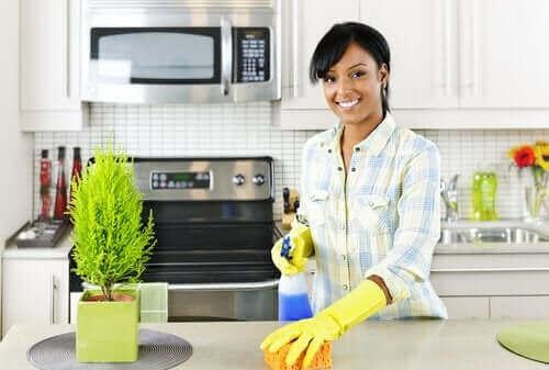 Mutfağını temizleyen bir kişi.
