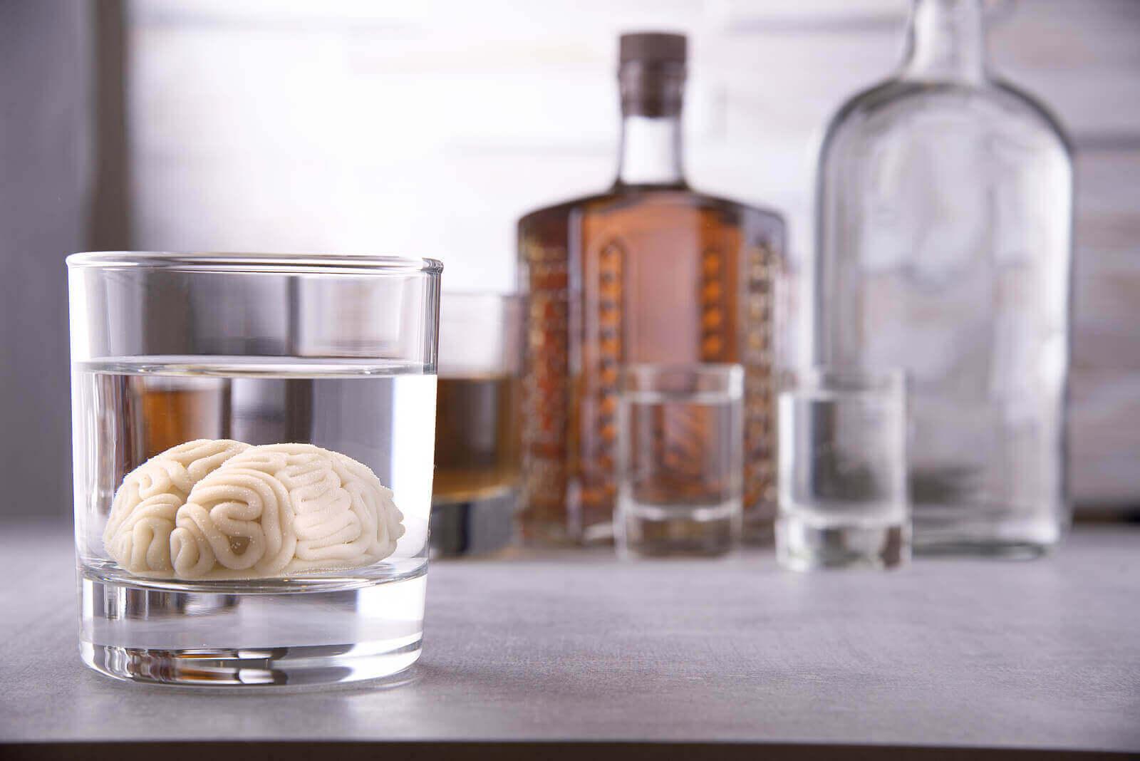alkol şişeleri ve bir bardak alkole yatırılmış beyin